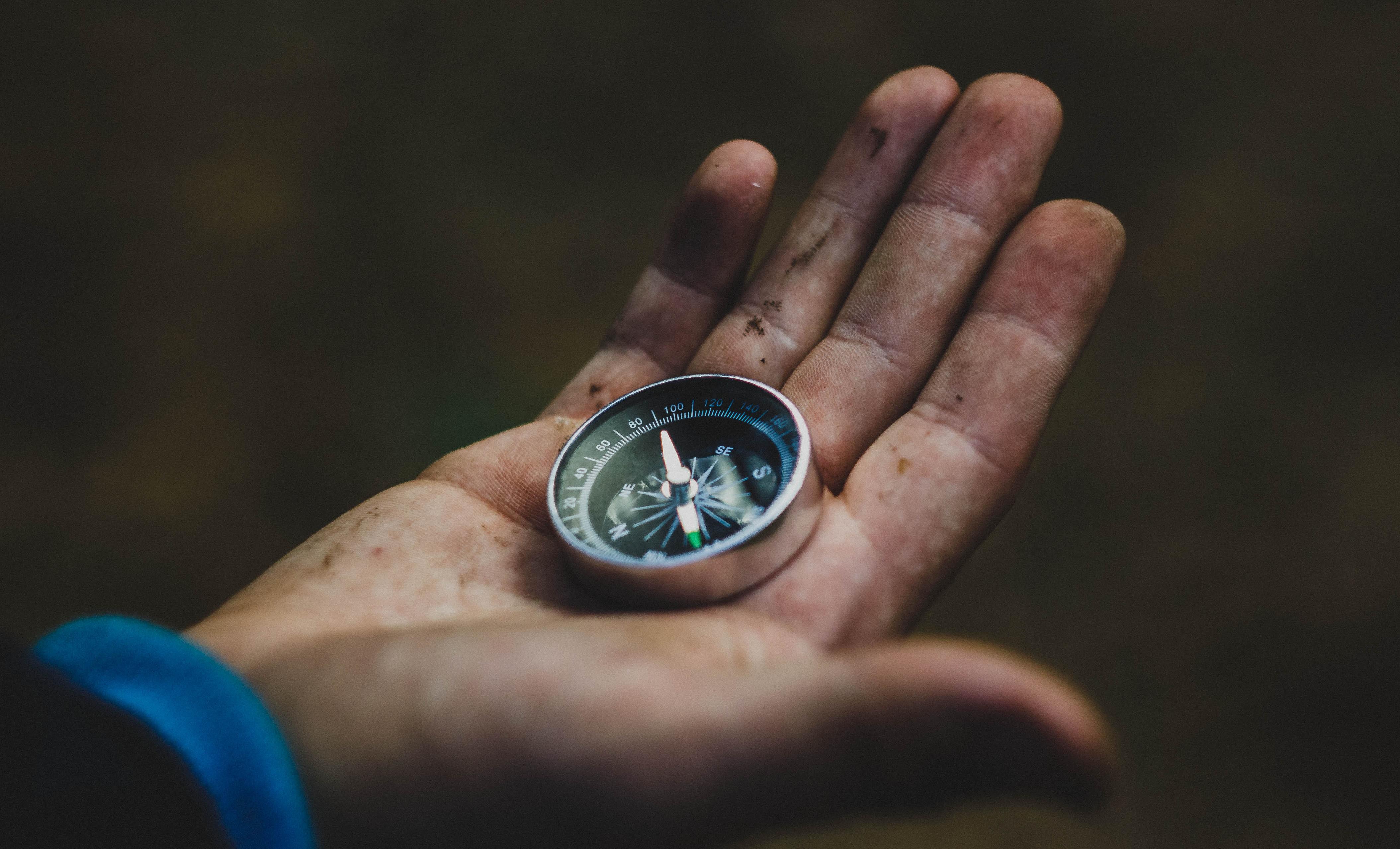 Ein Kompass in einer Hand.