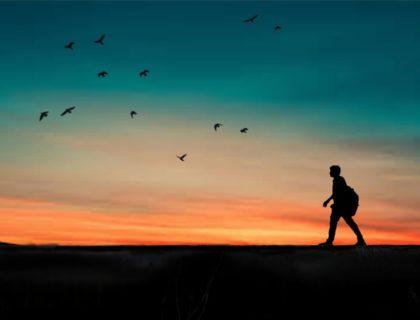 Mensch wandert im Sonnenuntergang